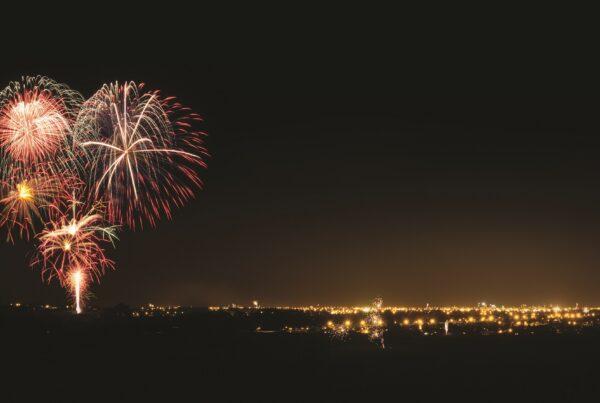Fireworks over the Manawatu River Anzac Park